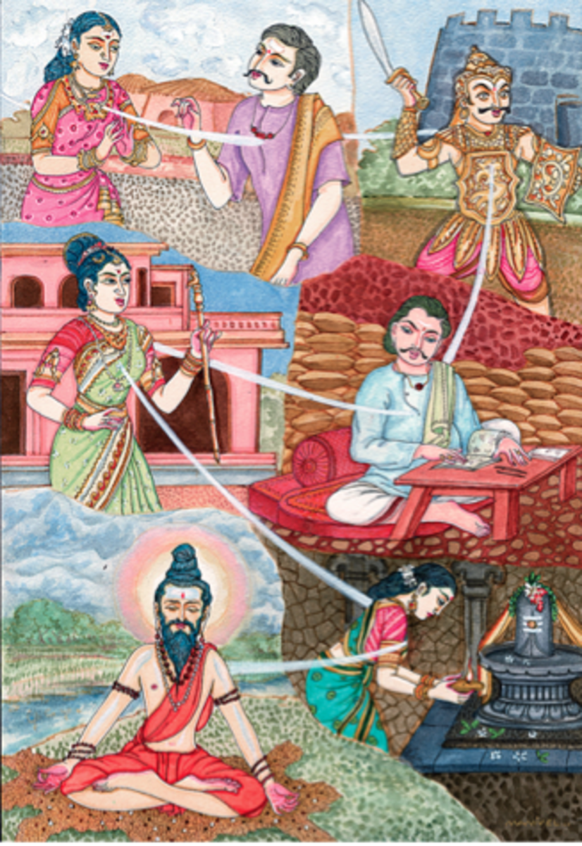 Hindu illustration of reincarnated lives.