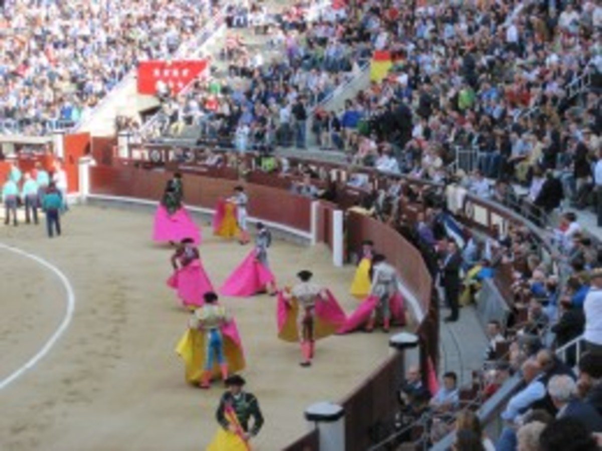 Assistants warming up in the bullfighting ring, Madrid's Plaza de Toros.