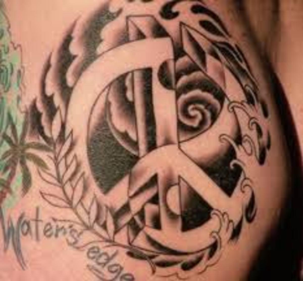 Peace sign fingers tattoo