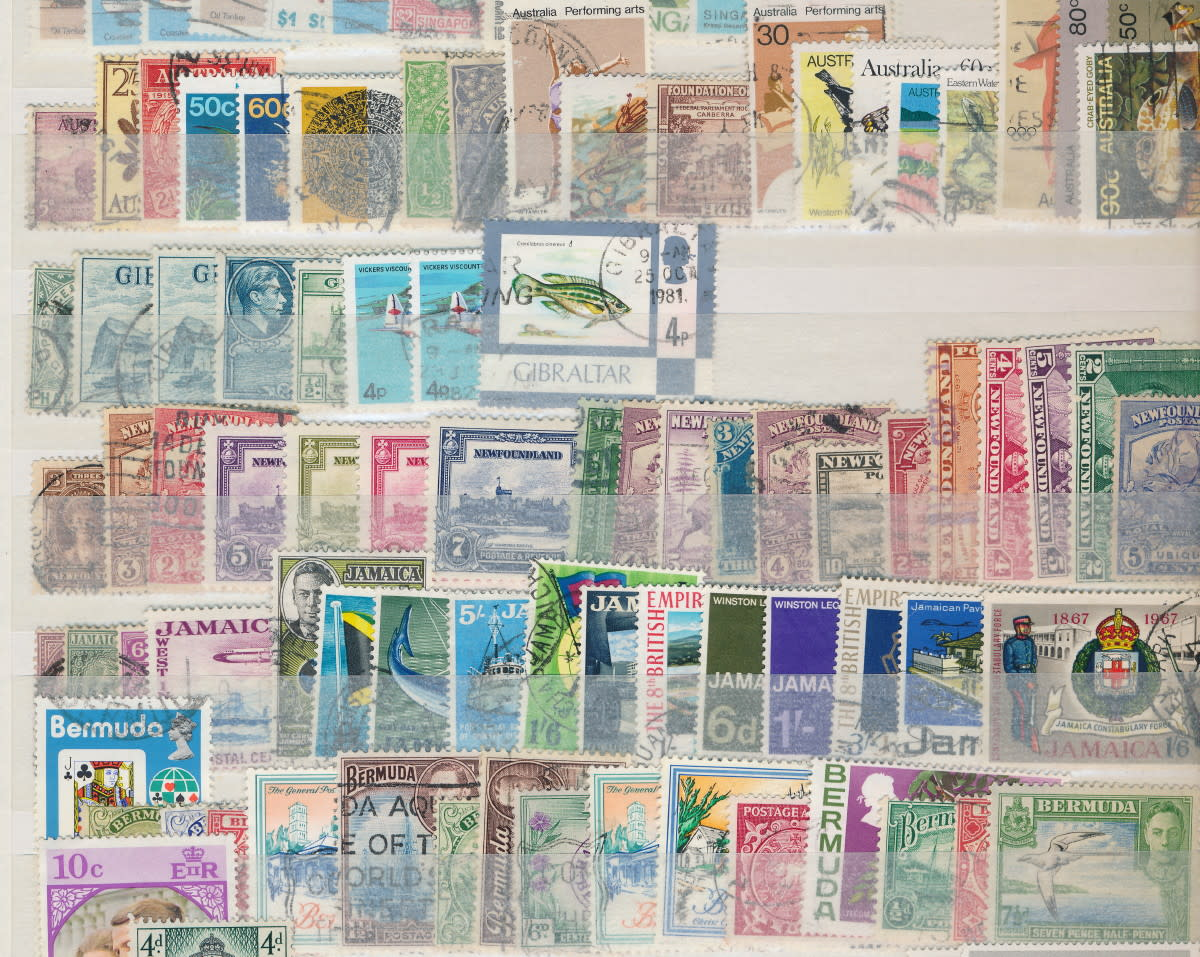 Page from a duplicate accumulation of British Commonwealth stamps