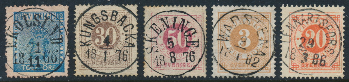 """Swedish """"ringtyp"""" stamps with town cancels, issued in the 1870's to 1890's"""
