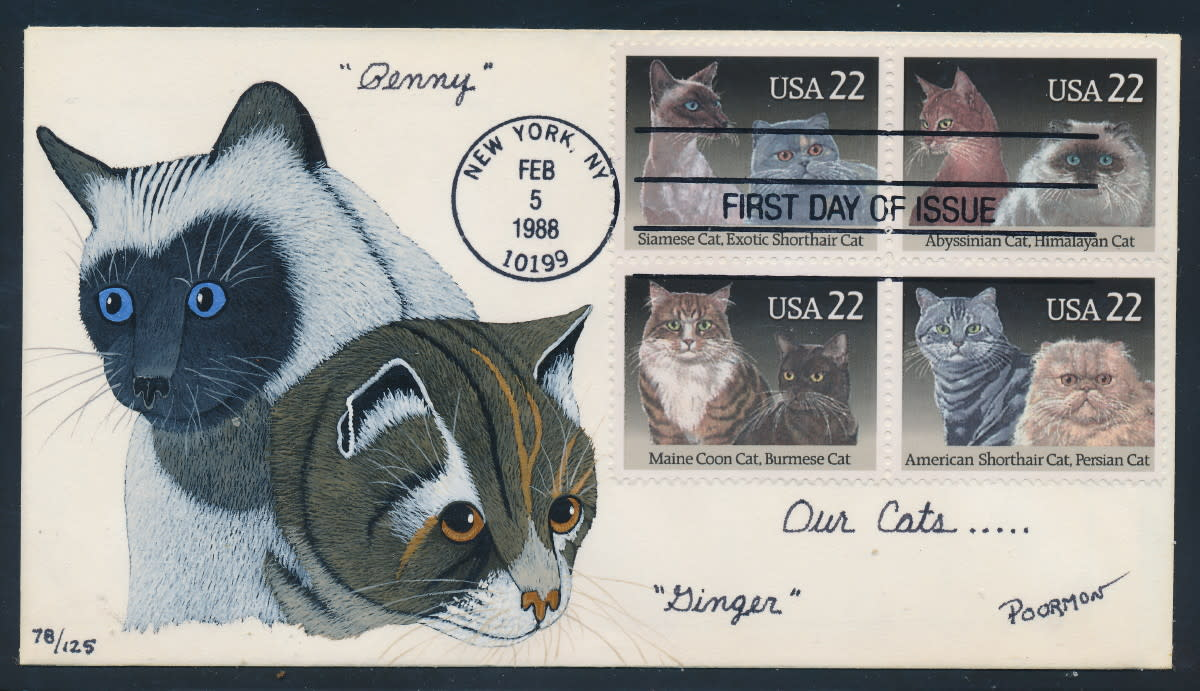 "Rare hand painted First Day Cover with the 1988 ""cats"" stamps from the US"