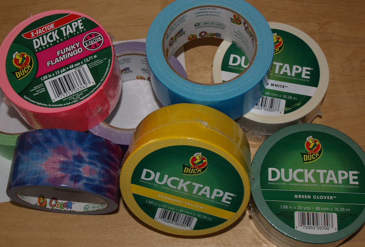 An assortment of Duck® Tape in some of the more than 25 colors, patterns, and college logos available today.