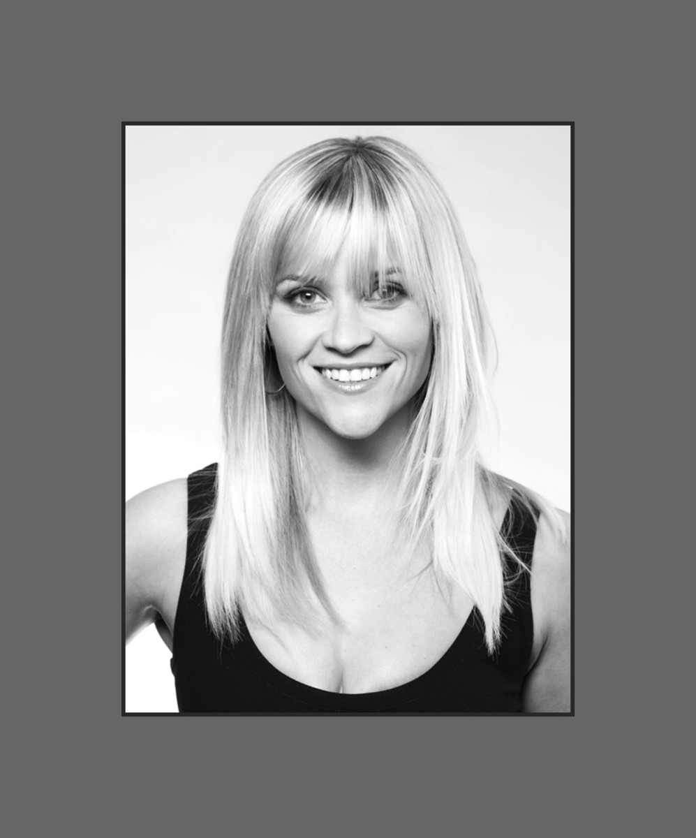 Reese Witherspoon's hairstyle with long choppy bangs looks very flattering to her heart shaped face - 2013 Hairstyles with Bangs for Round, Oval, Square, Heart, Oblong Face