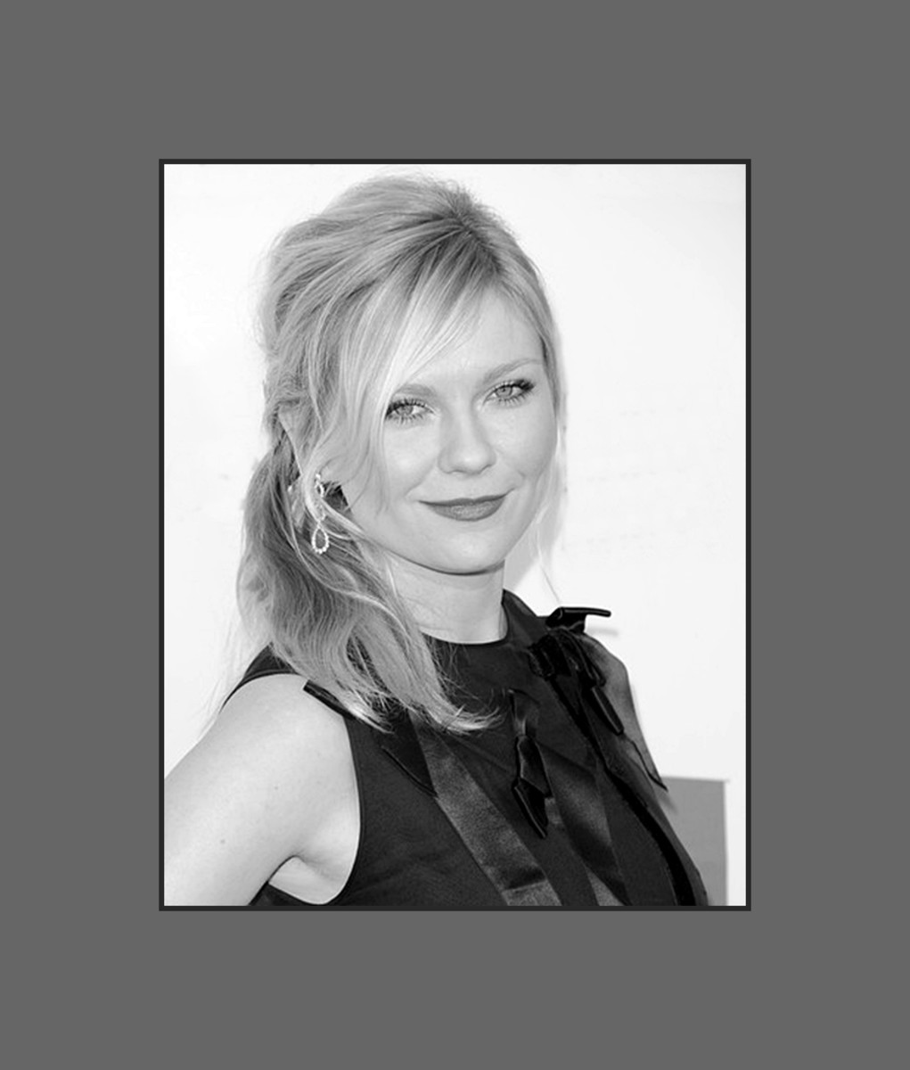 Kirsten Dunst wears long wispy soft bangs that make her face look narrower.  Great bangs for round face - 2013 Hairstyles with Bangs for Round, Oval, Square, Heart, Oblong Face