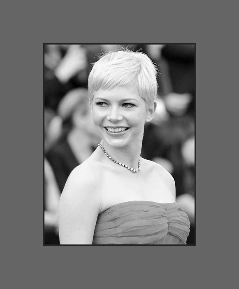 Michelle Williams wears pixie hairstyle with short cropped bangs that is very chic and makes her round face looks longer - 2013 Hairstyles with Bangs for Round, Oval, Square, Heart, Oblong Face