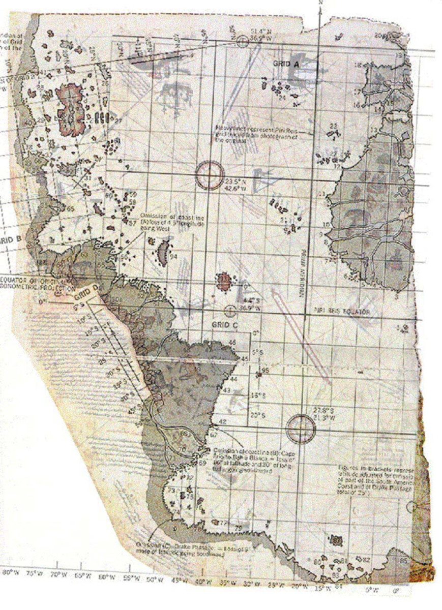 This is a section of the map made famous by Charles E. Hapgood and created by Piri Reis.