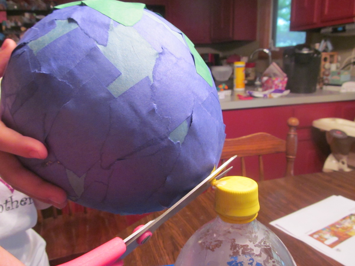 Let your project dry overnight and then cut the bottom of the balloon the next day.  It makes a really cool sound as it pulls away from the paper and then you're left with a globe shaped paper project.