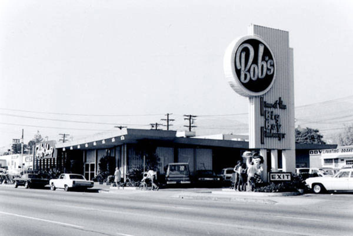 Vintage photo of Bob's Big Boy Coffee Shop from the outside.