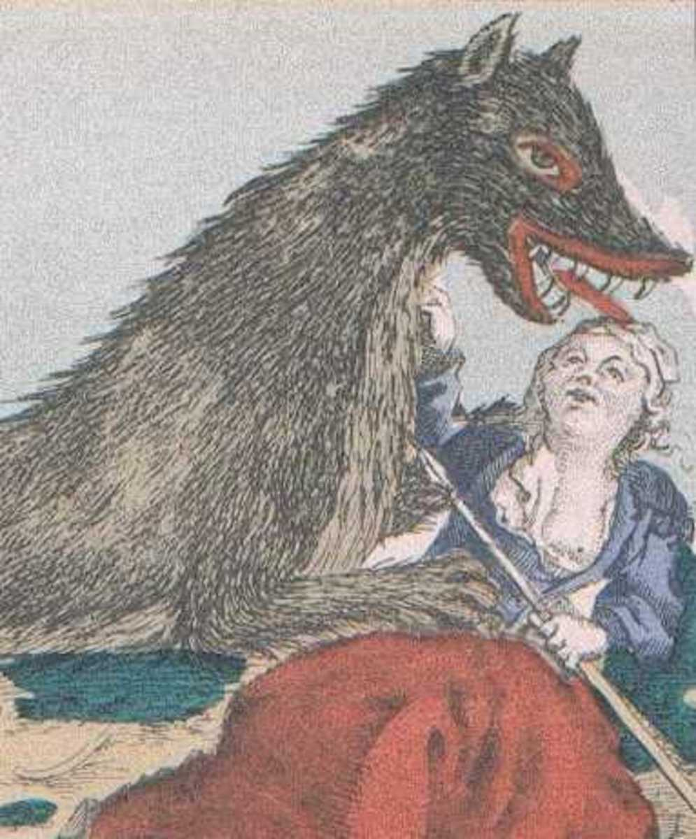 Period illustration of woman and la bete