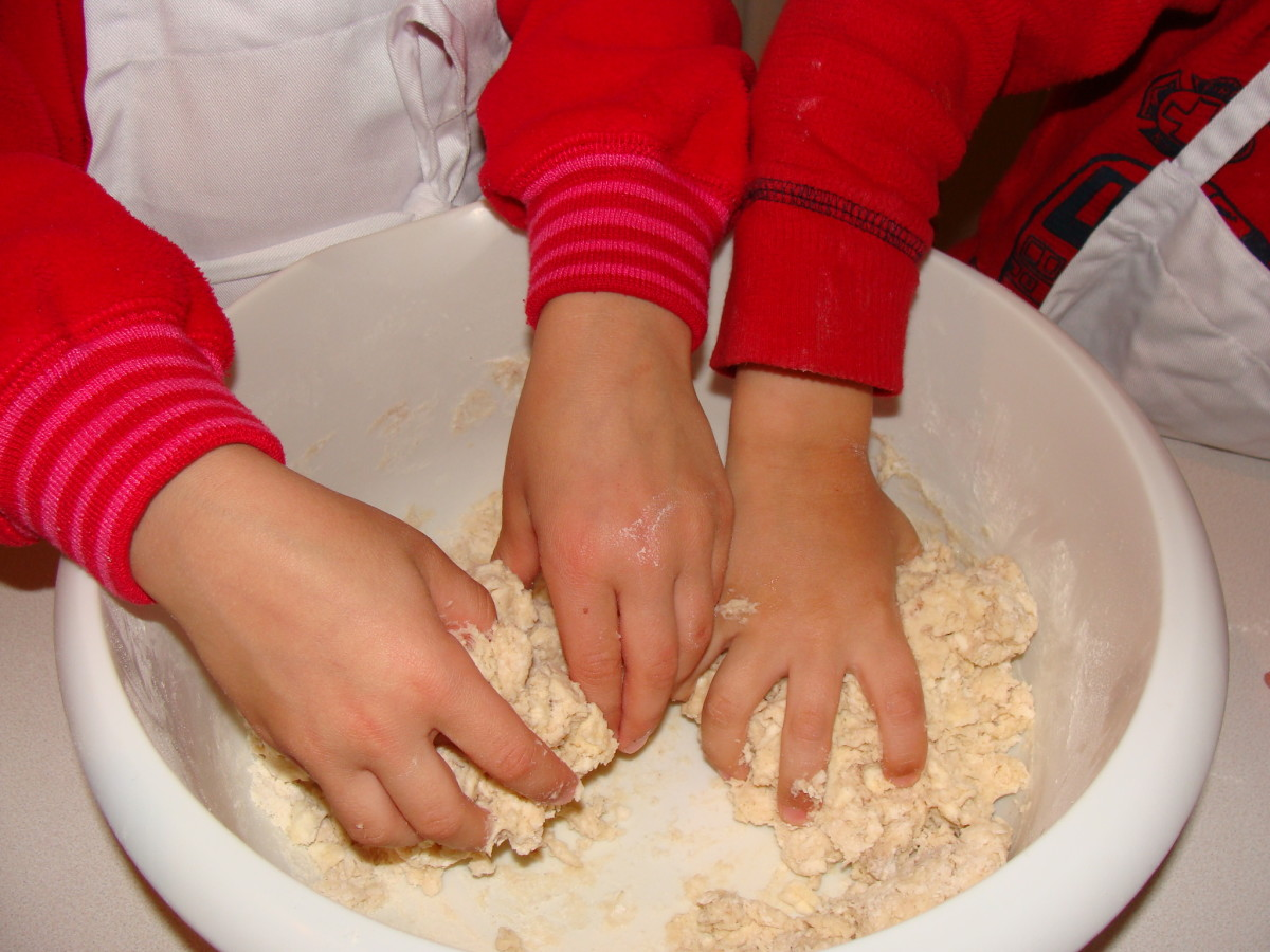 It's fun to use your hands to mix the ingredients!