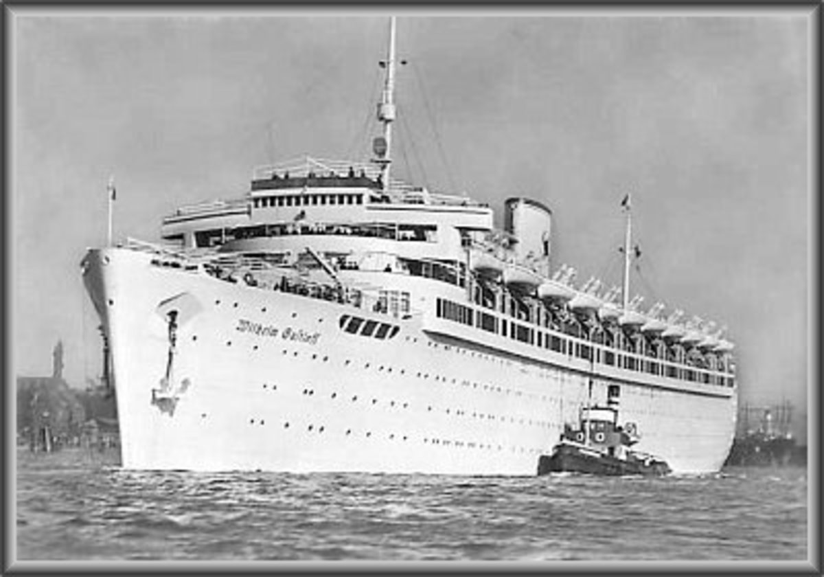 """Wilhelm Gustloff""  She carried 9343 Souls to their death when torpedoed by a Russian submarine in the Baltic Sea."