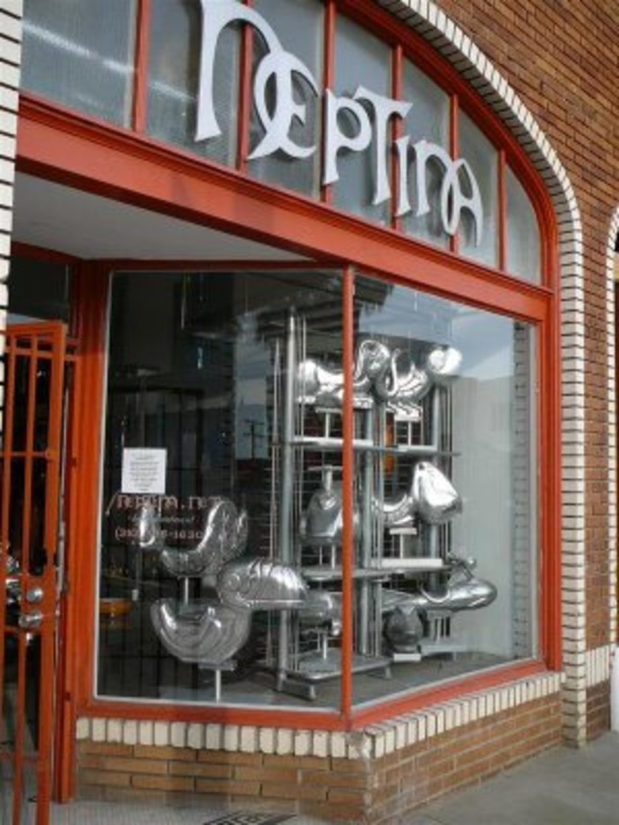 """Every wonder what happens to old playground equipment? Neptina turns it into artwork. Just another local store specializing in """"mid century glass, lighting, tables, and art."""" http://www.neptina.net"""