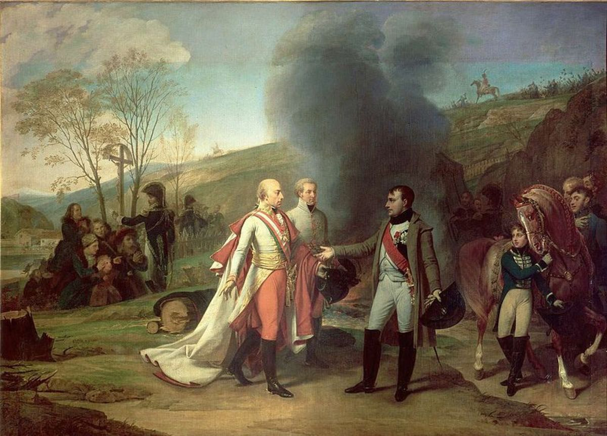 Napoleon meets the Holy Roman Emperor, Francis II at the conclusion of the battle.