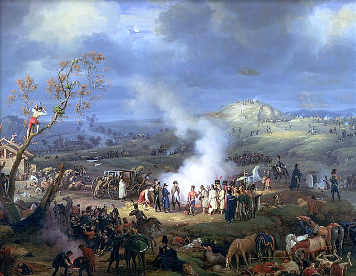 A painting showing the French troops bivouacking    on the eve of battle.
