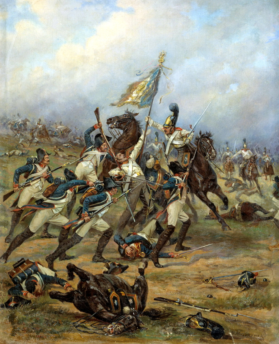Russian and French troops fight for control of a French standard at Austerlitz