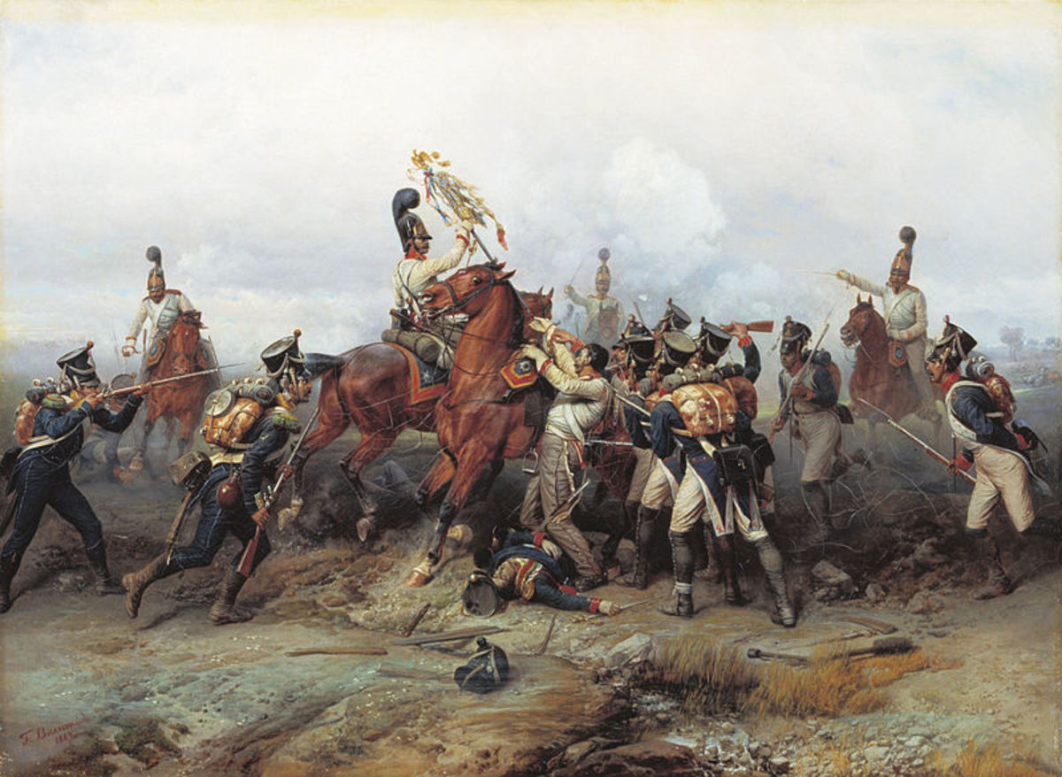 In this painting, the Tsar's Cavalry Guard successfully capture a French standard.