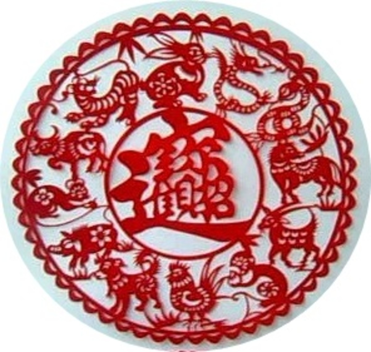 """Chinese wealth symbol 招 财 进 宝 (centre).  The symbol is made up of four characters """"zhao cai jin bao"""", meaning """"attracting wealth and treasures""""."""