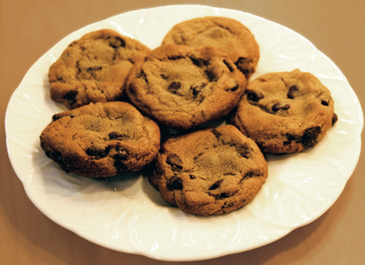 Chocolate chip cookies taste best when eaten warm with a tall glass of milk!