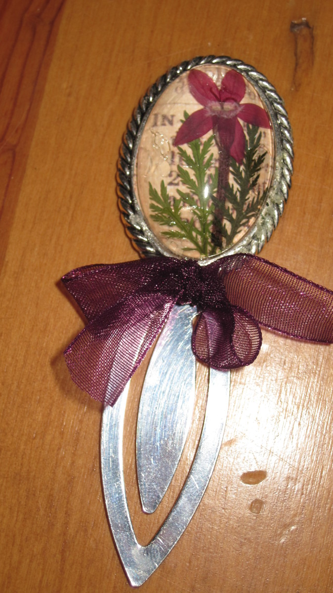 Book mark made with fern and verbena.