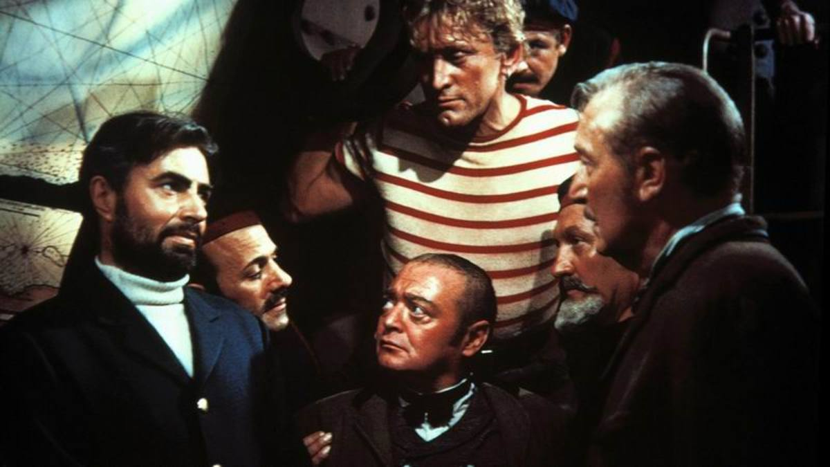 James Mason, Kirk Douglas, Peter Lorre and Paul Lukas in 20,000 Leagues Under the Sea
