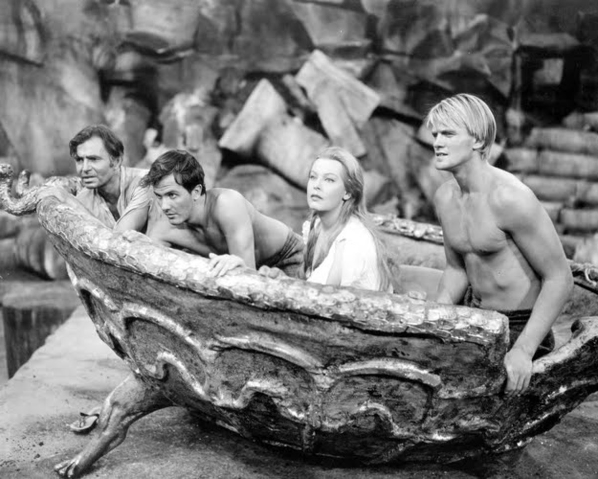 James Mason, Pat Boone, Arlene Dahl, Peter Ronson in Journey to the Center of the Earth
