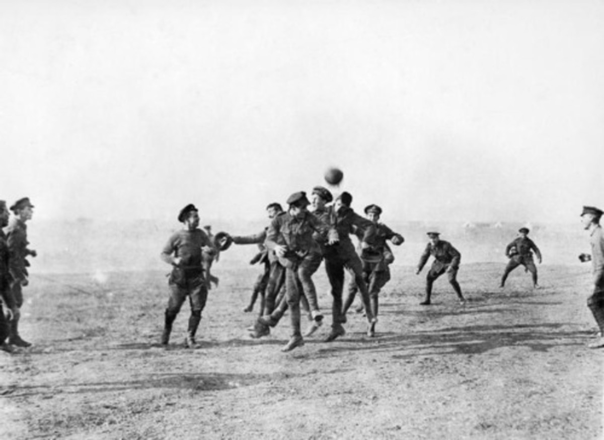 The famous football match between German and British troops Christmas 1914 in no mans land