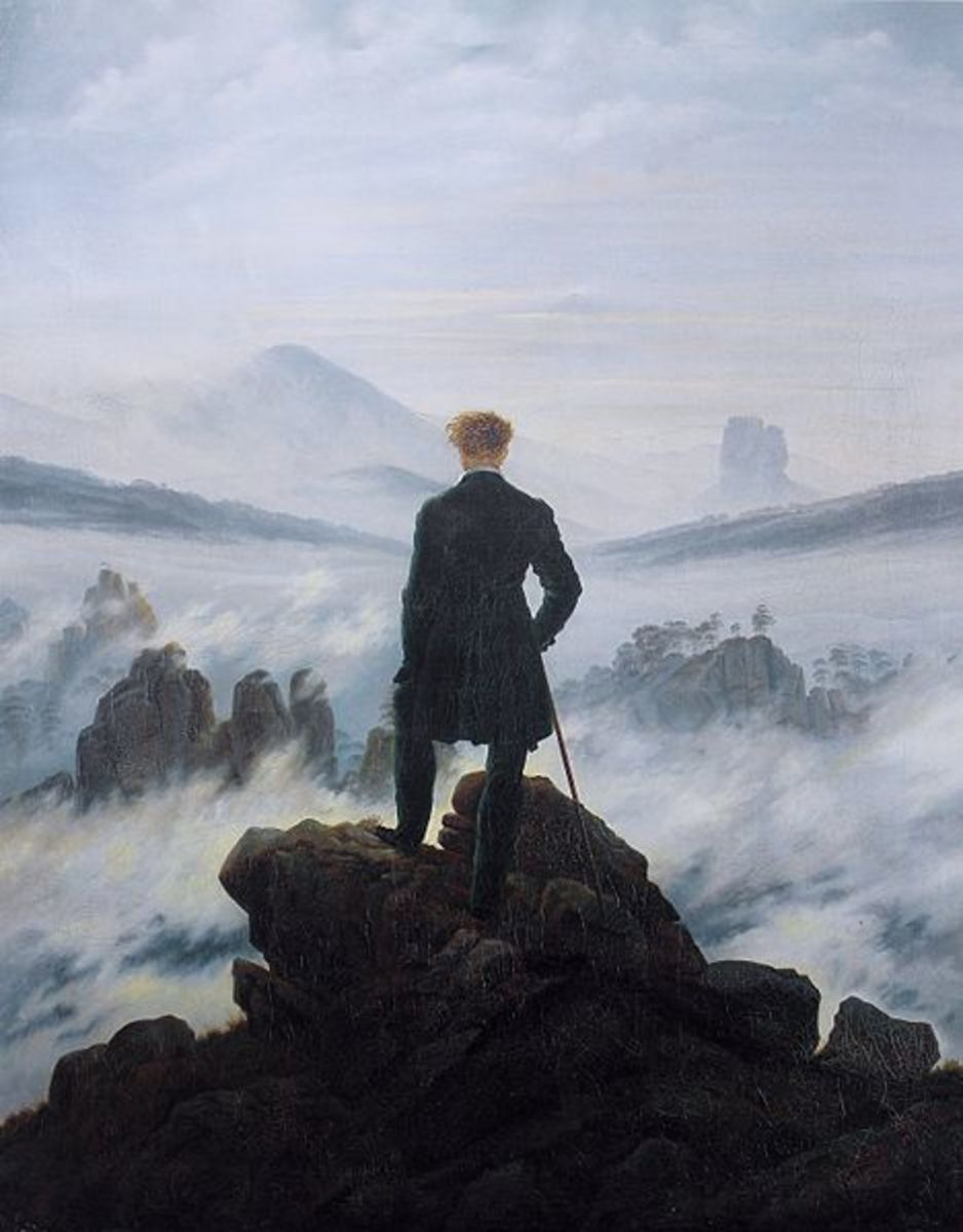 """A Wanderer Above a Sea of Fog"" by Caspar David Friedrich, a German romantic painter. Painted in 1818 the original currently hangs in Kunsthalle Hamburg in Germany. Gaddis uses this painting to relate the methods of history."