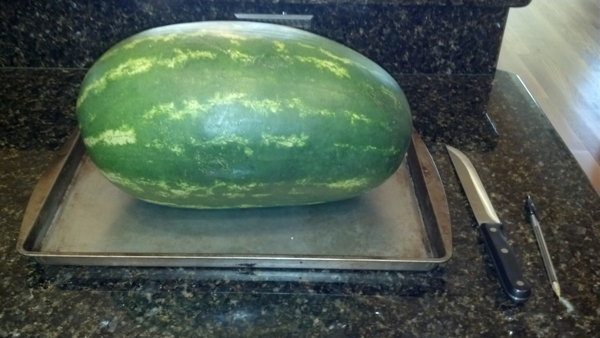 Place watermelon on baking pan and slice thin layer on bottom to create stable base.