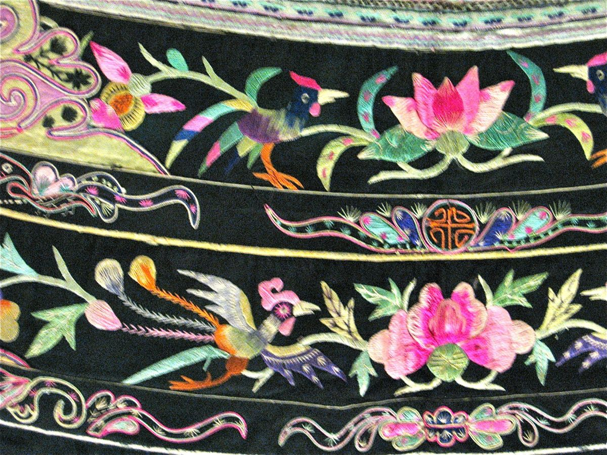 "Close-up of ""bird-and-flower"" motif."