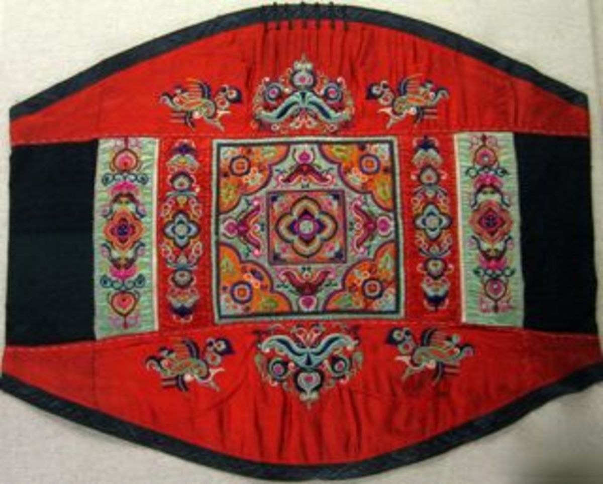 Embroidered baby carrier from Zhuang minority group.  1st half 20th Century.