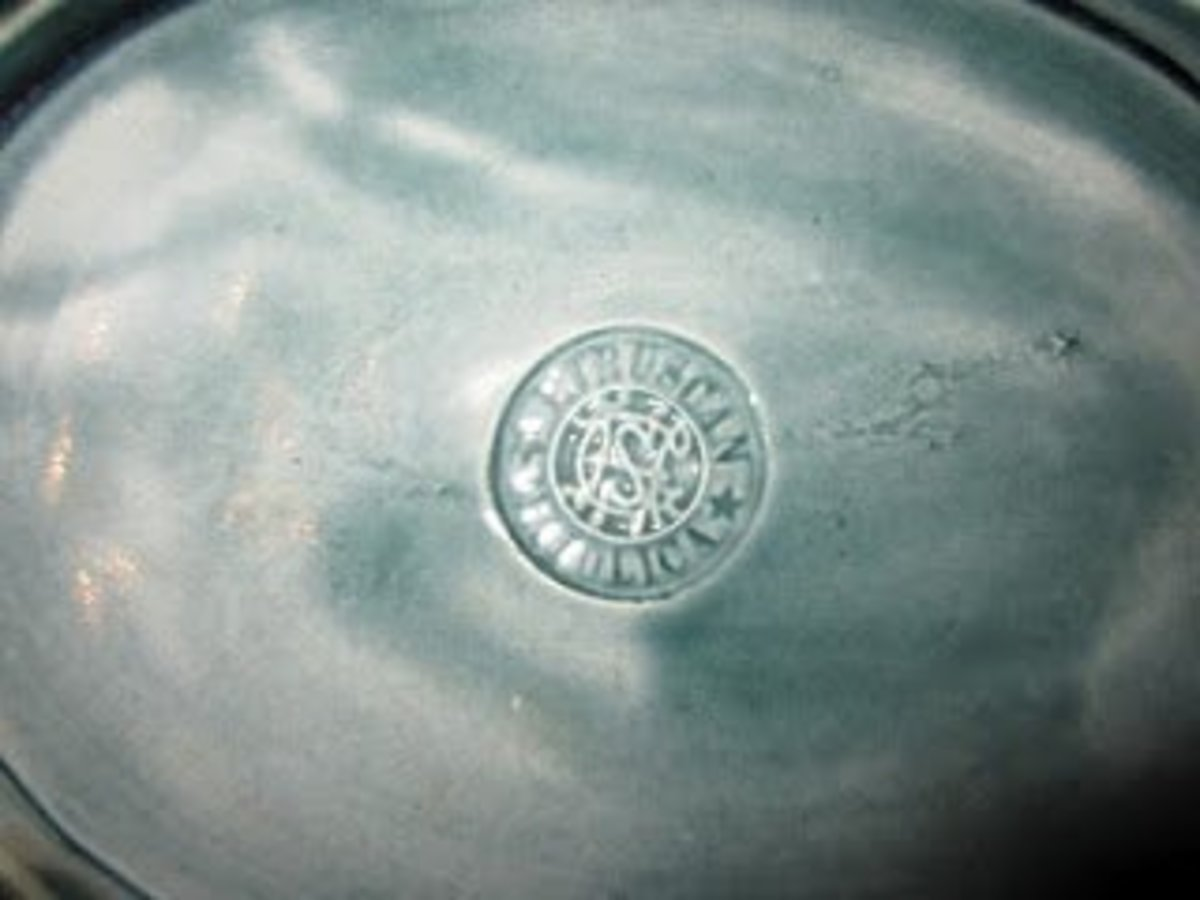 Etruscan Majolica Marking stamped by Griffen, Smith, and Hill and they were located in  Phoenixville, PA