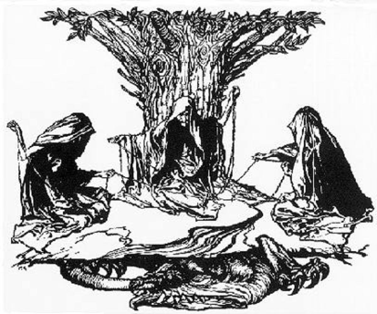 The Norns gather at the roots of Yggdrasil by the Well of Urd - well of knowledge where Odin lost an eye. The Norns were blind Urd (Past), Verdandi (Present) and Skuld (Future)  Below them Jormungand the World Serpent, son of Loki waits for Ragnaroek