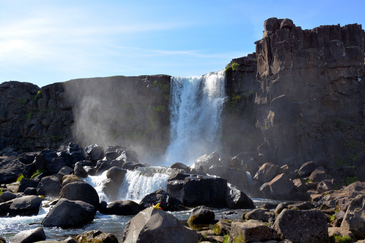 The Oexarfoss, the waterfall near Thingvellir where Iceland's parliament was held annually -  the outcome of earth's plates colliding and parting company in its slow westward shift