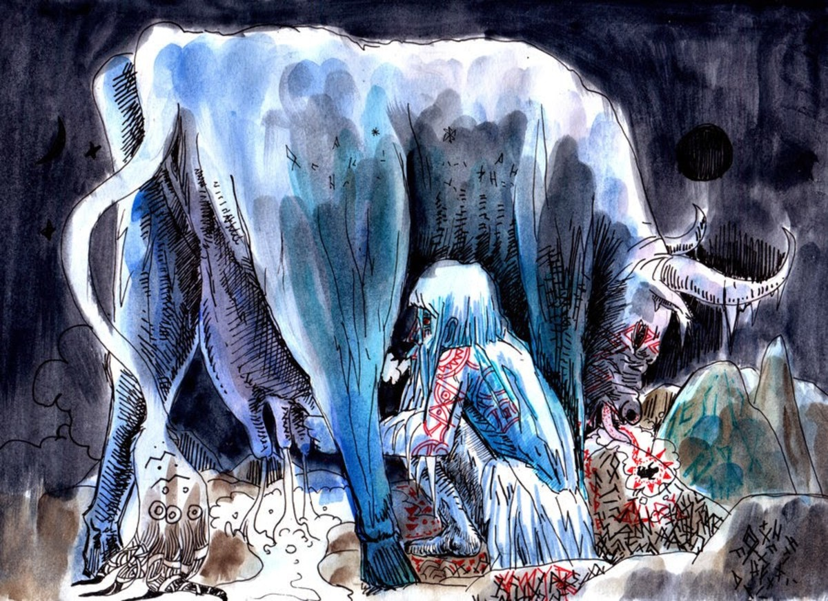 Audumbla the cow who licks the salty ice and frees the early gods