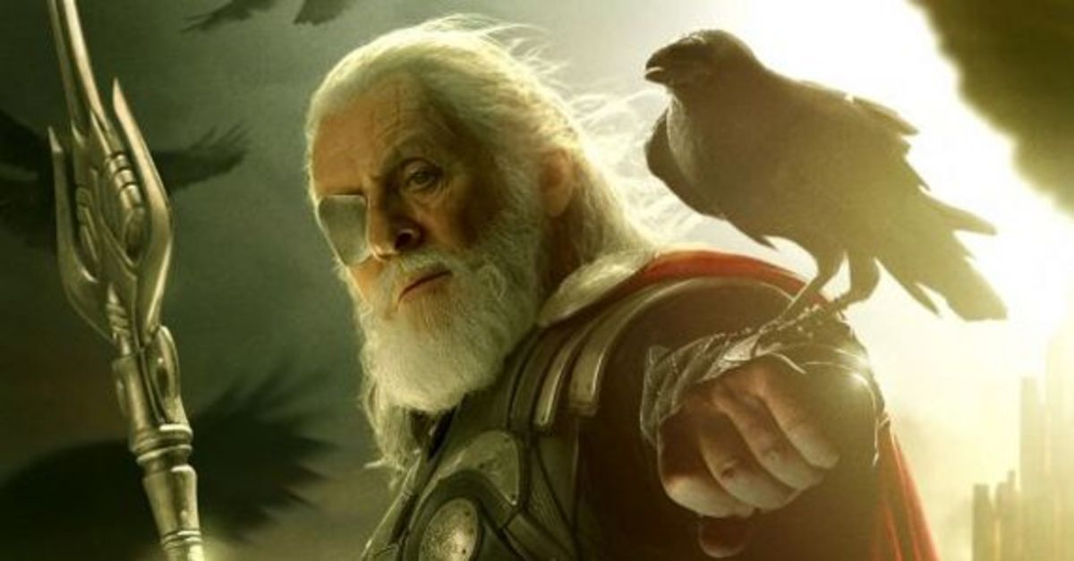 Odin again (Anthony Hopkins in THOR: The Dark World) with one of his ravens
