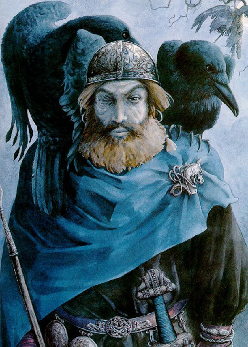 'Old One-eye', Odin with his ravens, Huginn (Thought) and Muninn (Memory)