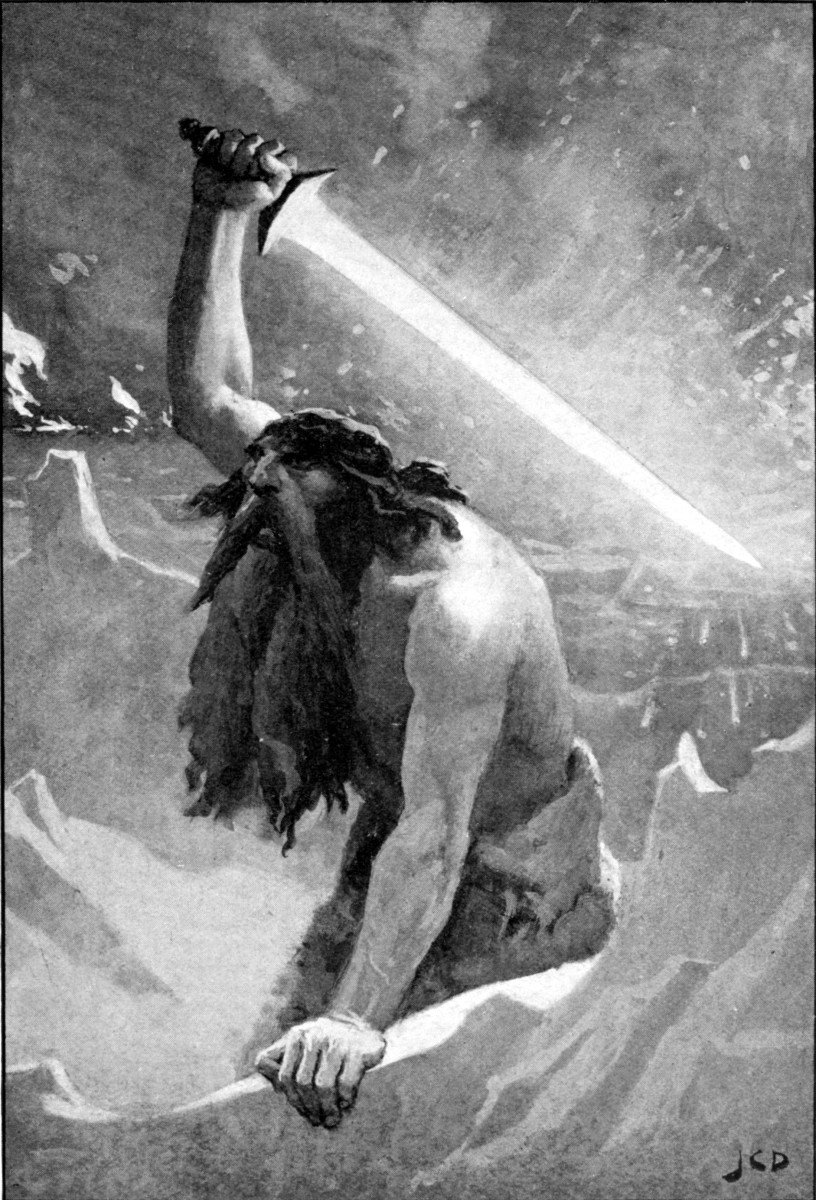A volcanic island off the coast of southern Iceland, Surt is shown here brandishing his fiery sword