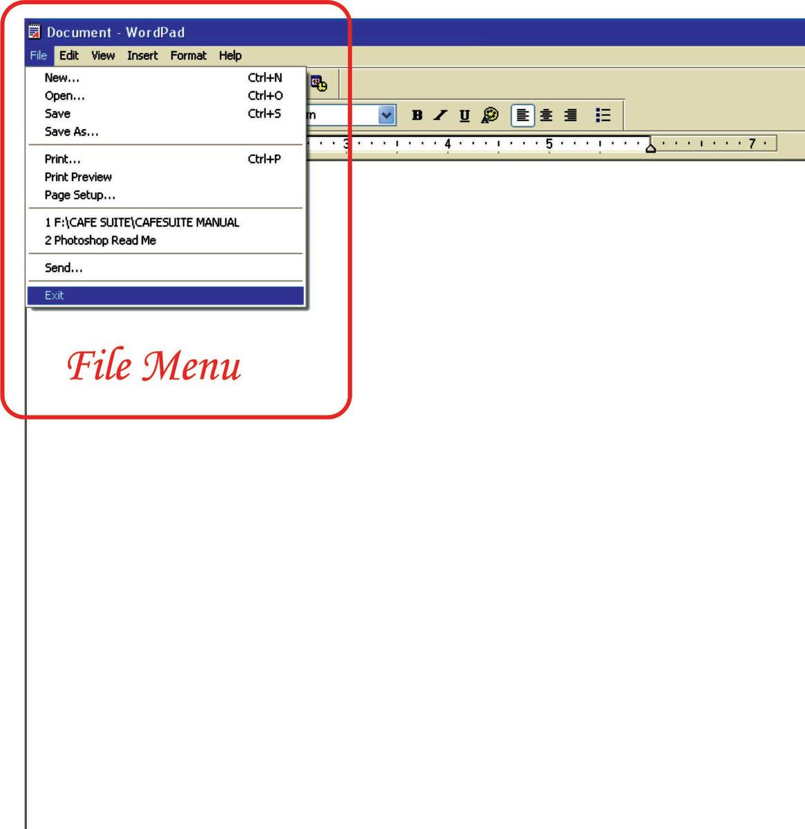 File Menu of WordPad