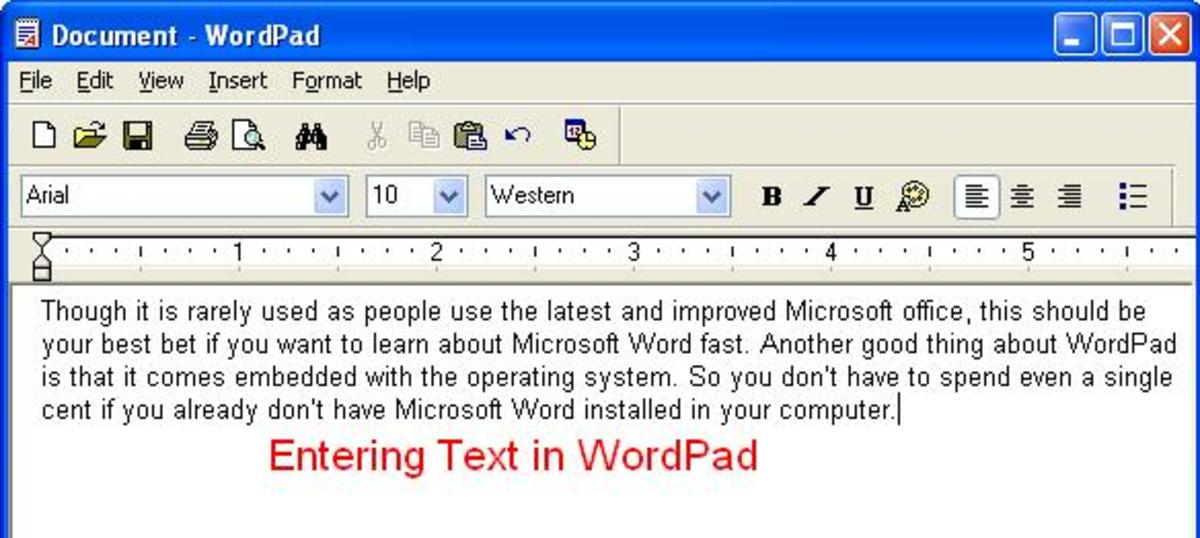 Entering Data in WordPad