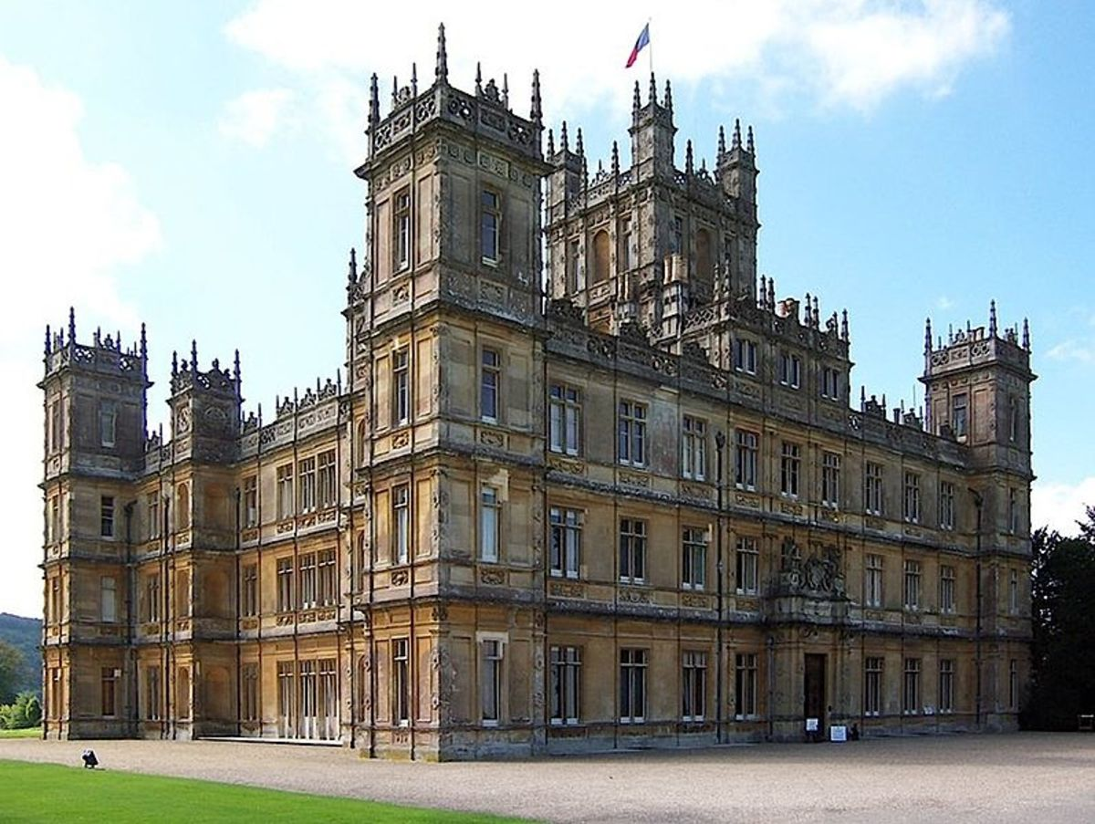 Beautiful Highclere Castle in Hampshire, England used for exterior and interior shots of  the Downton Abbey television series on PBS.