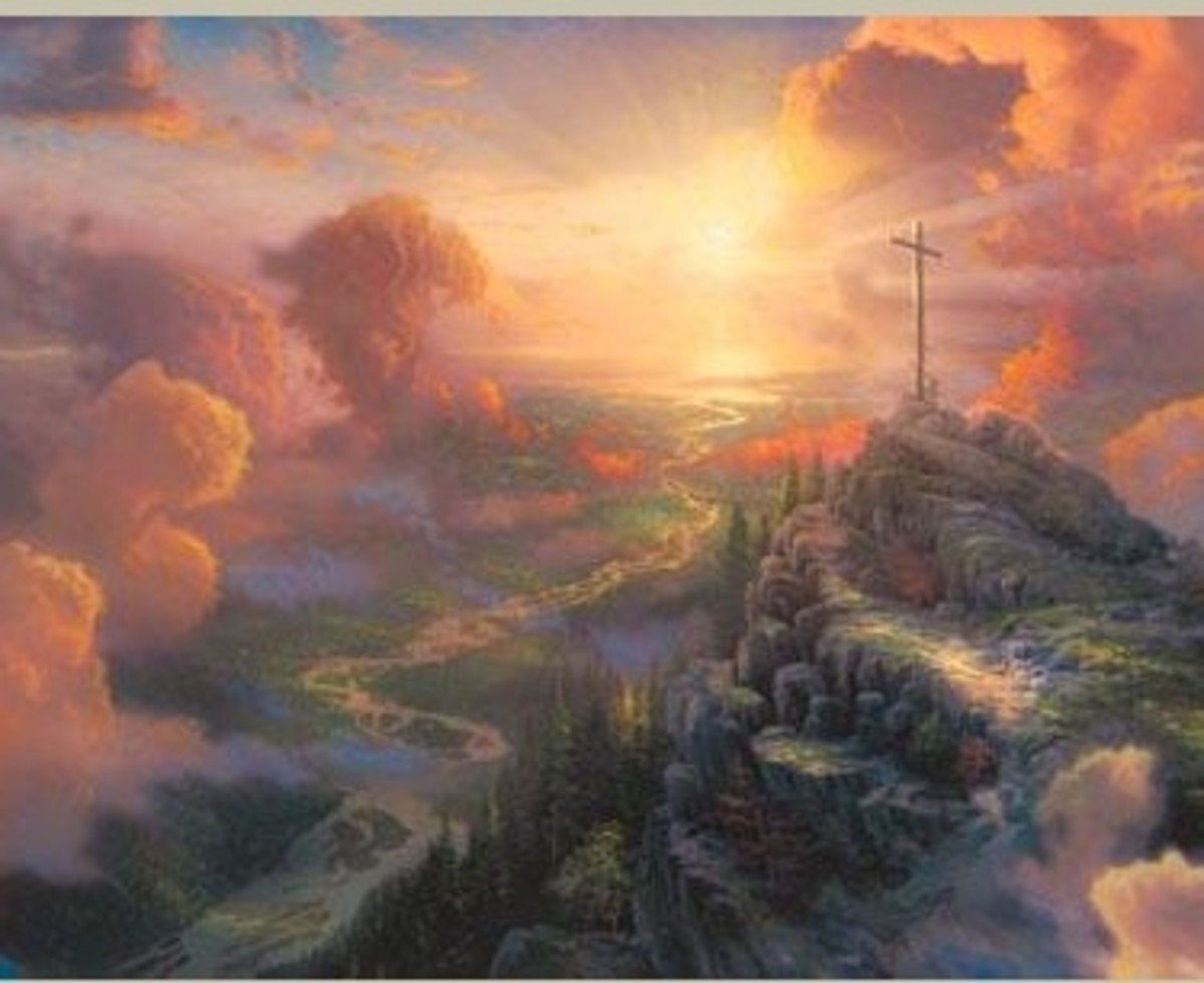 """Sometimes art is born of inspiration and sometimes of destiny. In the case of my epic painting The Cross I felt both"". T Kinkade."