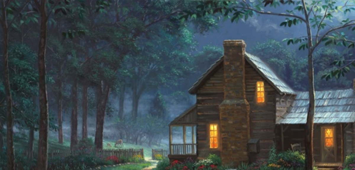 Kinkade may have died but his dream homes live on. An artist with the same devotional sin-free world is Mark Keathley