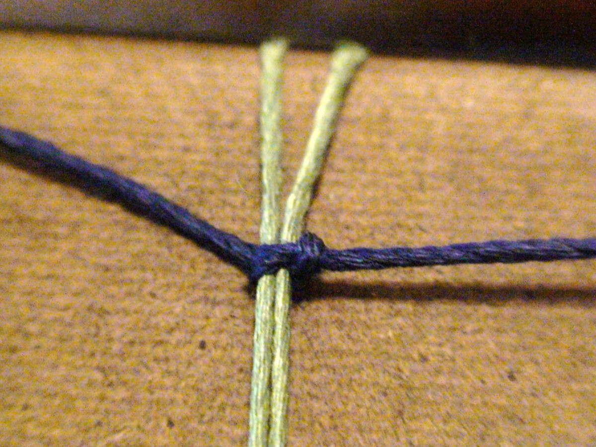 3.  For your closure you will create two square knots which will serve as a slipknot closure. Create a right half knot.