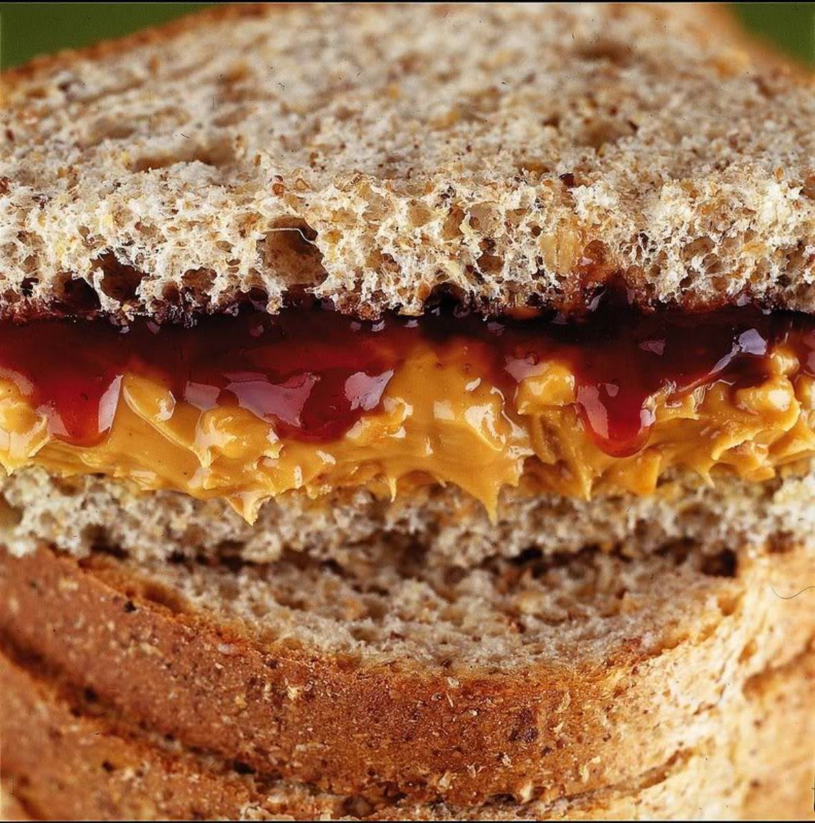 Peanut butter and jelly sandwich on whole wheat bread