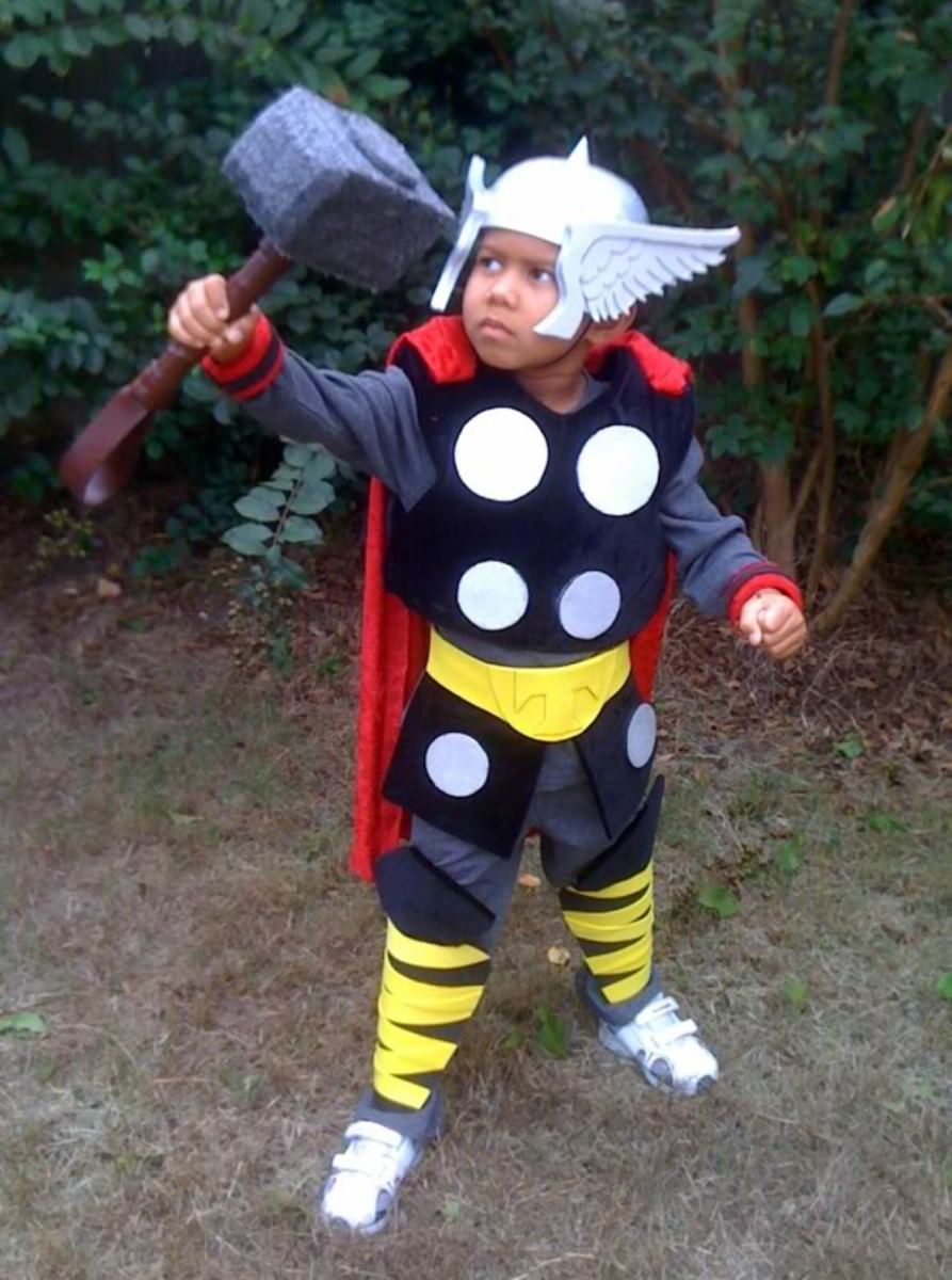 little boy in thor costume