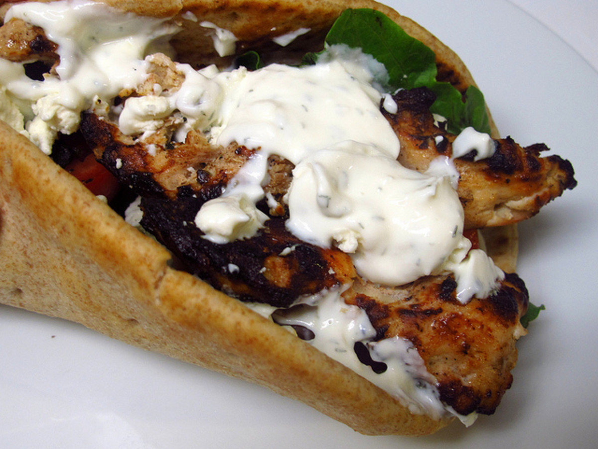 Chicken shawarma with oregano vinaigrette and garlic-yogurt sauce