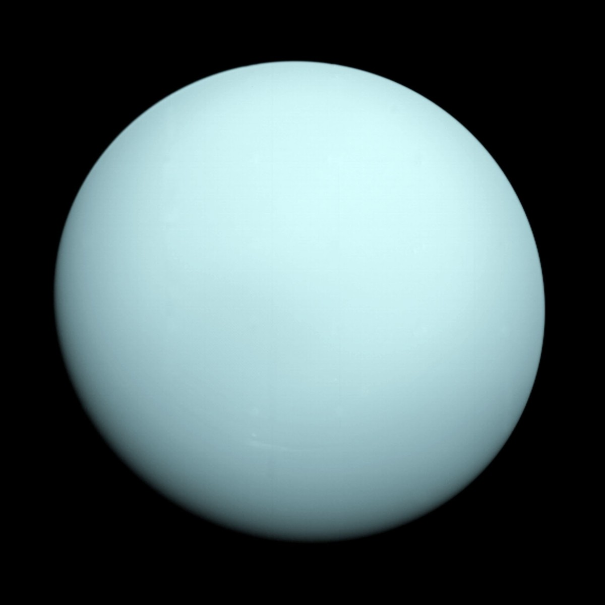 The lopsided giant - Uranus also has rings (although not visible in this shot taken by Voyager 2 in 1986) and the brightest clouds in the solar system