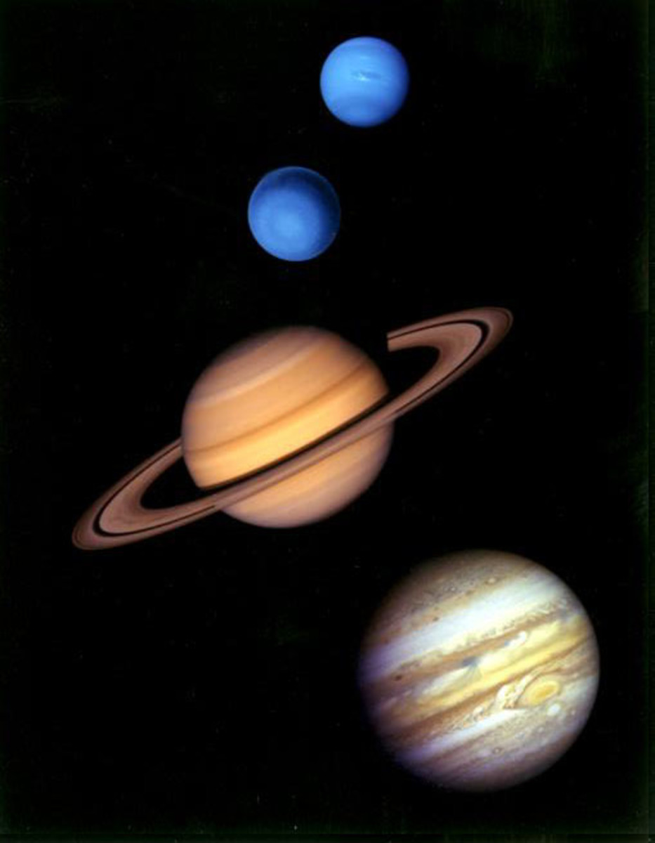 The four gas giants comprise 99% of the mass orbiting the Sun. From top to bottom: Neptune, Uranus, Saturn and Jupiter.