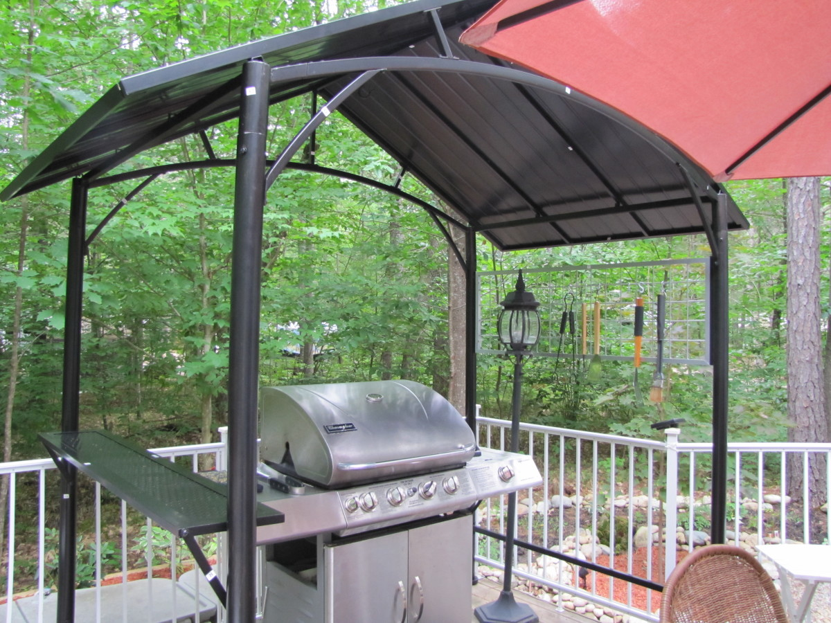 It's nice and open but provides shelter for the grill.